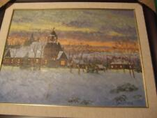 """""""Country Church """"Original Oil on Wood by Lindsey Dawson Framed New MINT"""