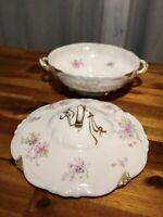 Antique G. Ahrenfeldt Limoges France Depose Floral Porcelain Casserole Dish Nice