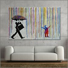 Banksy Respray Rain Umbrella Man Street Art Textured Painting 160cm x 100cm