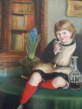 c1930 girl child playful drink oil painting portrait original frame estate art