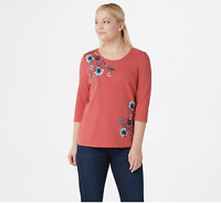 Denim & Co. French Terry 3/4-Sleeve Top with Embroidery Clay Red, Medium