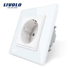 Livolo EU Standard White Crystal Glass Panel  AC 110~250V  16A Wall Power Socket