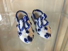 2 Vintage Blue and White Porcelain Shoes