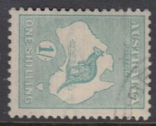 AUSTRALIA :1920 1/- blue-green   die IIB SIDEWAYS WATERMARK  SG 40ba fine used