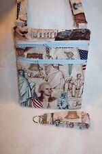 Handcrafted Crossbody Passport Bag Washington Presidents Patriotic Fabric Themed