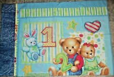 BLUE JEAN TEDDY BEAR Counting Handmade Cotton Standard Pillowcase SHIPS FREE!!