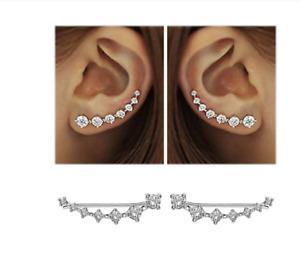 Schicke Ohrringe Durchzieher Verschiedene Farben Echt Sterling Silber 925  Neu