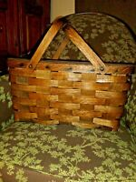 Vintage picnic basket hand woven wicker hinged lid with handles. 17.75x9.5x12