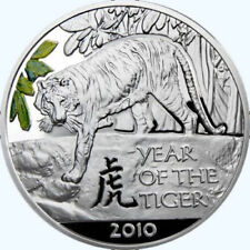 2009 Niue 1$ Lunar Year of the Tiger 2010 1 Oz Silver Proof rare