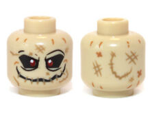 LEGO - Minifig, Head w/ Red Eyes & Stitched Mouth Pattern (Scarecrow) - Tan