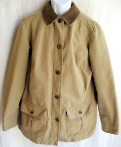Men's L.L. Bean Size Med Coat Jacket Khaki W/ Brown Corduroy Collar & Trim C1