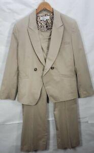 Tahari Arthur S. Levine Tan/Beige Cotton Suit Two Pieces Blazer Pants Sz 16 P