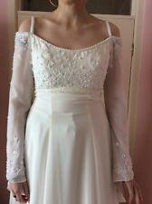 BNWOT IVORY CHIFFON-BLUE BEADING -UK SIZE 12-MORI LEE WEDDING DRESS