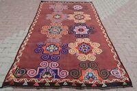 """Large Turkish Kilim Rug Tribal Kelim Wool Rug Floor Carpet 62,9""""x104,7"""" Area Rug"""