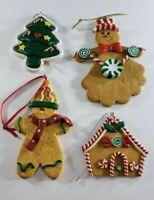 Vintage Polymer Gingerbread Men Tree House Christmas Ornaments Lot