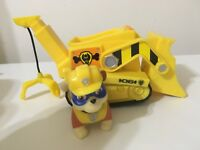 NICKELODEON PAW PATROL SUPER PUP RUBBLE'S CRANE FIGURE AND VEHICLE EUC