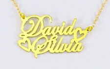 PERSONALIZED 18K GOLD PLATED ANY 2 TWO NAMES COUPLE NAME NECKLACE LOVE US SELLER