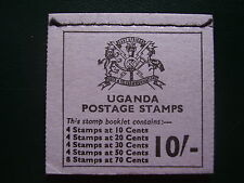 UGANDA FLOWERS RIGHT HAND STITCHED BOOKLET 10/- of 1971TYPE SB7 MINT COMPLETE.