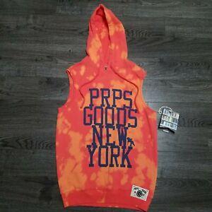 PRPS New York Hooded Vest Mens LARGE Coral bleached Fleece Hoodie