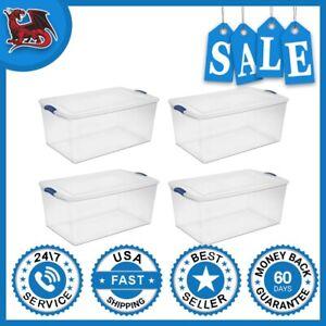 Storage Totes Container Bins Large Organizer 105 Qt./99 L Latch Box (case Of 4)