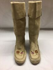Report Slip On Calf Length Moccasin Style Embroidered Faux Suede Cuffed Boots
