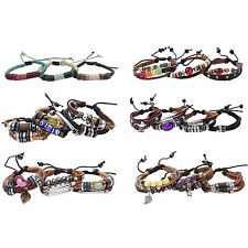 Lederarmband Set Armband Leder Nieten Perlen Bänder Beads Ethno Fesival
