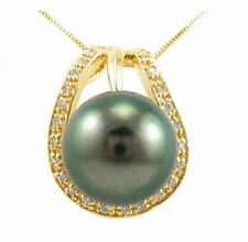 10-11mm Tahitian Black Pearl Pendant Sterling Silver W/ 18K Gold Plating
