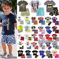 2Pcs Cartoon Printed Kids Boys Summer Outfits Clothes T-shirt + Shorts Pants Set