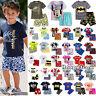 2Pcs Cartoon Printed Kids Boys Summer Outfits Clothes T-shirt + Shorts Pants Set