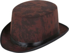 Adult Fancy Dress Party Costume Headwear Aged Look Top Hat Brown One Size