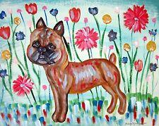 Brussels Griffon Smooth in Garden Dog Pop Outsider Art 8 x 10 Giclee Print Ksams