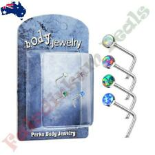 316L Surgical Steel L Bend Nose Stud Ring with Purple Opal Set Flat Top
