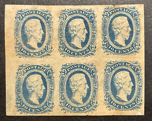 TDStamps: US Confederate CSA Scott#11 Mint H OG Lightly Cr Tiny Tear, Block of 6