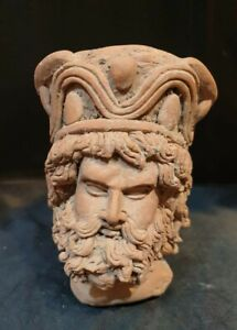 RARE AND BEAUTIFUL ROMAN TERRACOTTA STATUE HEAD WITH FINE DETAILS