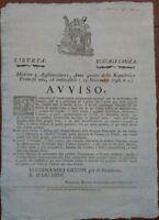 1796 OCCUPAZIONE FRANCESE DI MODENA: BANDO SU PELLI PER CALZOLAI E CORAMI