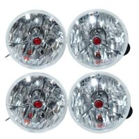 """5 3/4"""" RED DOT TRI BAR HOT ROD HEADLIGHTS FOR FORD CHEVY GM SET OF 4"""