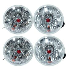 "5 3/4"" RED DOT TRI BAR HOT ROD HEADLIGHTS FOR FORD CHEVY GM SET OF 4"