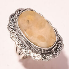 Ethnic Jewelry Ring S-9.50'' Vr-713 Fossil Coral Vintage Style Handmade Fashion