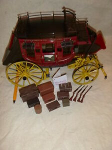 A Franklin mint scale model of a Wells Fargo stage coach.