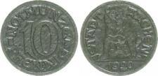 Fonds D'Urgence Aachen Ville 10 Pfennig 1920 Abschlag Noir Carton,Rs Bärin Ss-Vz