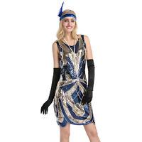 Women's 1920s Flapper Dress Sequin Art See Through Back Great Gatsby Costumes