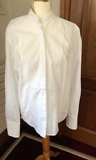 Amanda Wakeley Crisp White Cotton Shirt UK Size 10 Tuxedo Style Long Line VGC