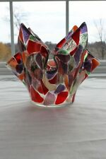 Fused Art Glass Vase Ice Bucket Mosaic Draped Green Red Purple USA Original New