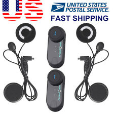2X 800m Bluetooth Intercom Motorcycle Helmet Interphone Communicator Headset+FM