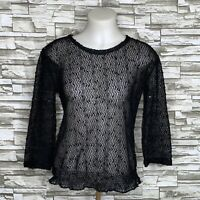 Chico's Easywear Small Sz 0 Top Tunic Crochet Black Mesh Knit 3/4 Sleeve Sequin