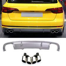 Für Audi A4 B9 8W Rs4 S4 Look Diffuser Stoßstange Wabengrill Auspuff blenden #01
