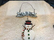 -Rustic/folk-look wood/tin snowman plaque/hanger/wall decor/ornament/holiday