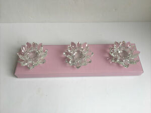 BNIB JM Julien Macdonald Pink 3 Crystal Lotus Flower Clear Candle Holder CS