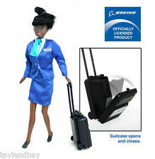 """Flight Attendant Doll Boeing African American 11"""" w/ Backpack Rare Retired"""