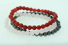 Magnetite, Agate, & Rose Quartz Polished 6.5mm Bead Bracelet Set